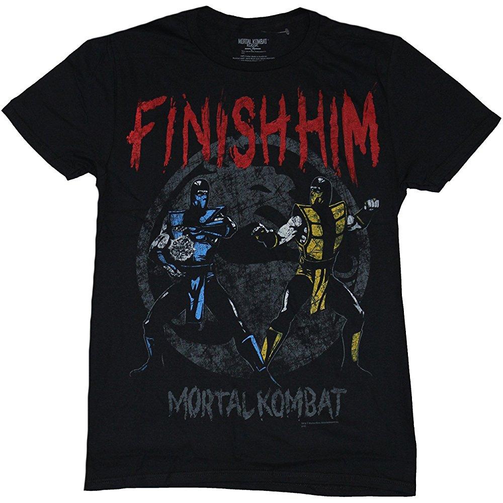 Mortal Kombat Mens T Shirt Finish Him Old School Sub Zero Vs Scorpion Image Black Tmen 12234 17 90 Mortal Kombat Mortal Kombat Finish Him Mens Tshirts
