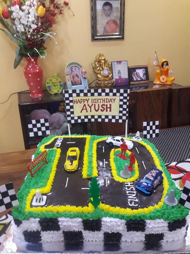 10th Birthday Racing Track Cake 10 Birthday Cake Race Track Cake Boy Birthday Cake
