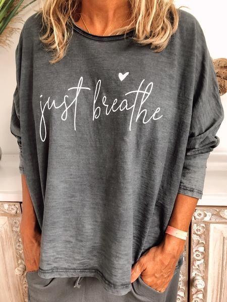 Letter Casual Long Sleeve Cotton-Blend Shirts & Tops Deep Gray-4XL