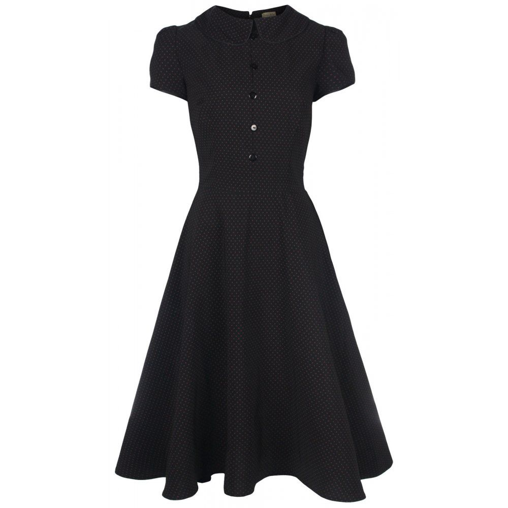 Black dress retro - Rhonda Black Tea Dress Vintage Inspired Fashion Lindy Bop