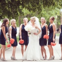 A Happy Navy Blue & Coral Wedding at Fountain Square Theater in Indianapolis.