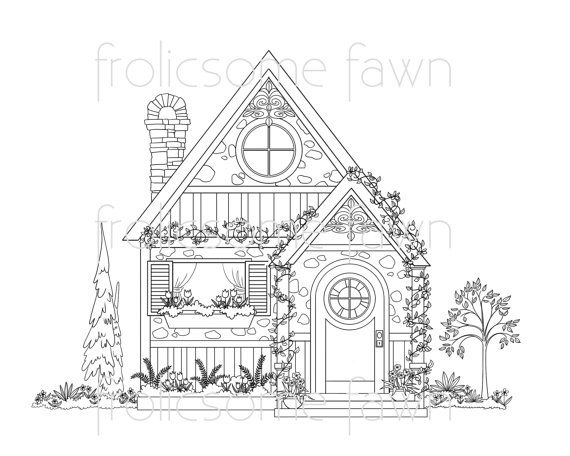 Country Cottage Coloring Page for Adults - House Coloring Page ...