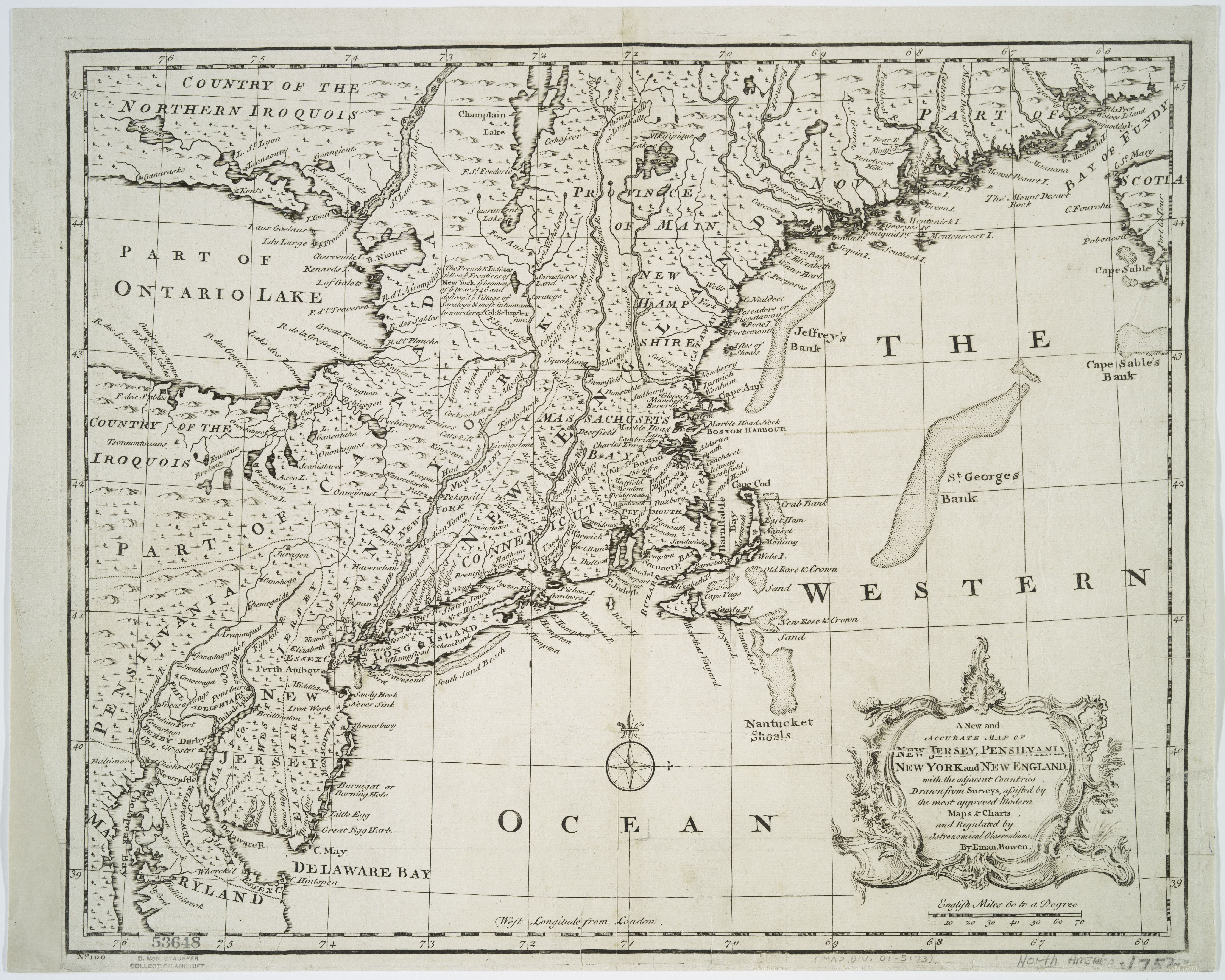 1744 Map Of New Jersey Pennsylvania New York And New England Map