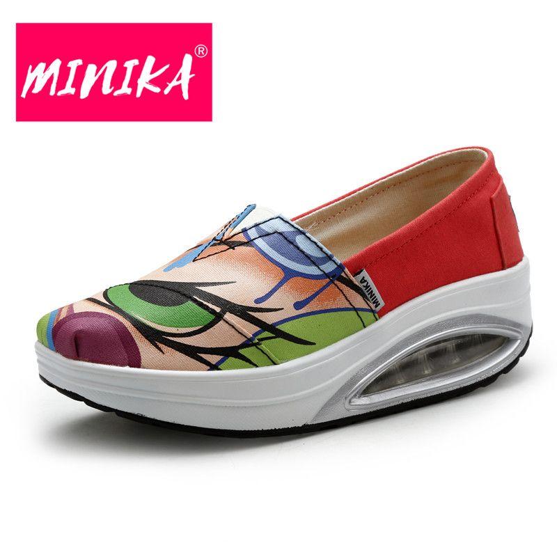 MINIKA New 2017 Summer Shoes Breathable Canvas Women Flats Platform Casual Women  Flat Shoes Fashion Female Swing Shoes