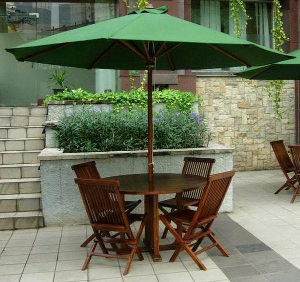 Meja payung kursi taman outdoor kursi lipat jati meja kayu for Kitchen set kayu jati