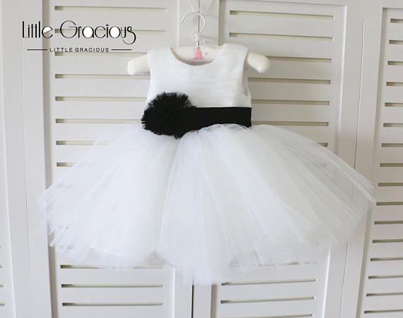 Blanco básico estilo bebé niña vestido negro para boda, vestido del ...