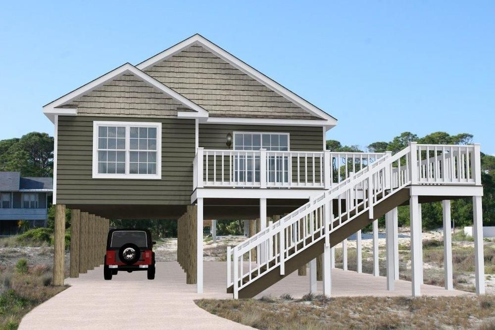 The Wildwood I With A 7 0 12 Pitch Roof And Site Built Wrap Around Deck Floor Plans Ranch Ranch Style Homes Shore House
