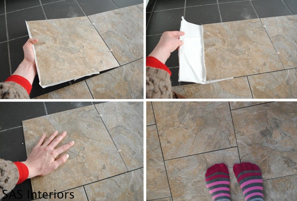 How To Install Groutable Peel And Stick Vinyl Tiles To Look Like