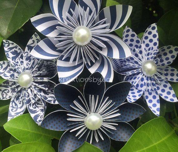 4 navy paper flowers with stems origami flowerkusudama flower 4 navy paper flowers with stems origami flowerkusudama mightylinksfo