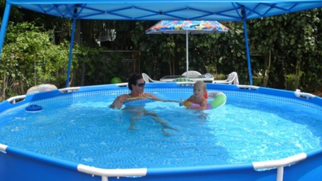 Intex 12 X 30 Metal Frame Pool Review Intex Above Ground Pools Pool Shade Above Ground Swimming Pools
