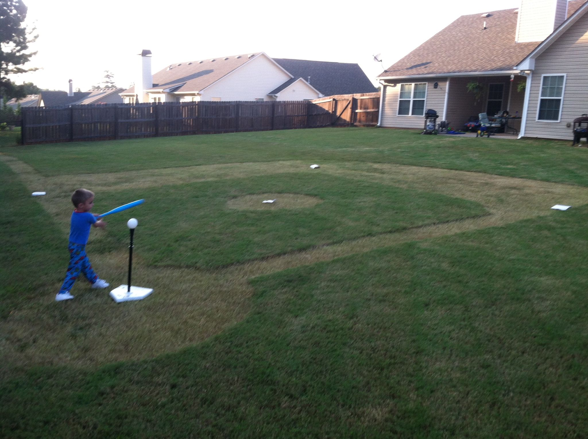 fc3db0509e41 Backyard baseball field! Daddy made this for Logan's sports themed birthday  party!