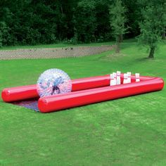 The Human Bowling Ball - For ages 5-12, the transparent PVC ball is inflated to its full 7' diameter by an adult with the included blower--a zipper cinches the ball closed yet opens quickly to allow egress and quick entry for another player.
