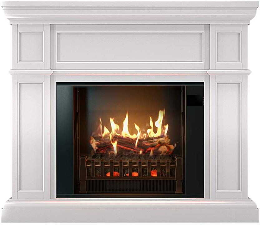Amazon Com Magikflame Realistic Electric Fireplaces W Sound Heater White Electric Fireplace Realistic Electric Fireplace Electric Fireplace With Mantel