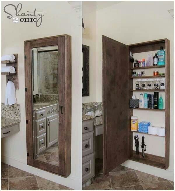 Full Length Mirror With Storage Behind It Small Bathroom Diy