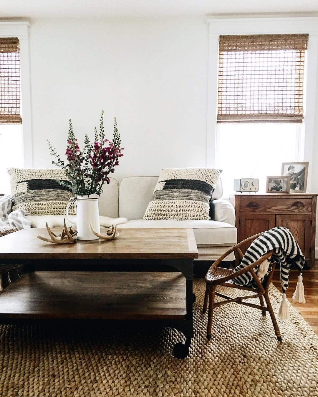 black and white living room with lots of texture | Room | Pinterest ...