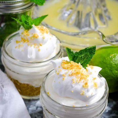 Easy No Bake Key Lime Pie in a Jar is a super simple yet creamy delicious dessert packed with a little pucker power! These sweet treats are perfect for entertaining or a great take along for your next picnic!