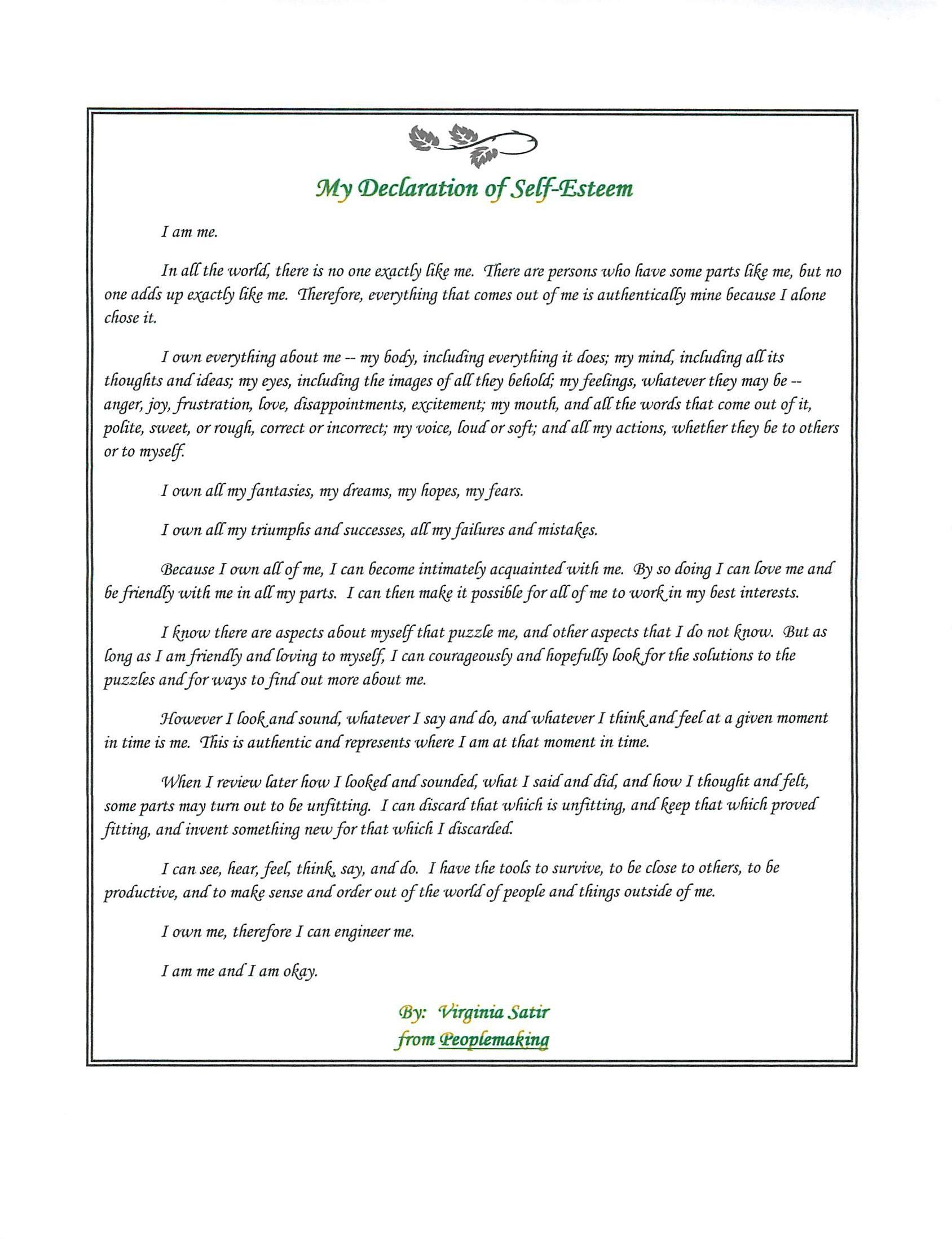 My Declaration Of Self Esteem By Virginia Satir