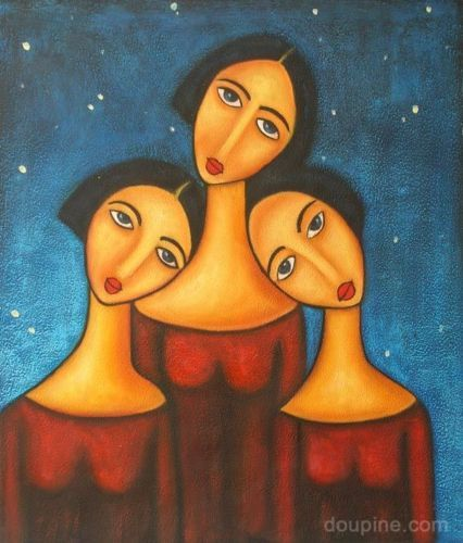 3 Three Sisters Large Oil Painting On Canvas An Abstract Modern Art Wall Decor Modern Art Abstract Kids Canvas Art Large Oil Painting