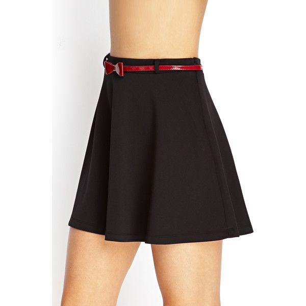 Forever21 Prep School Skater Skirt w/ Belt ($9.99) ❤ liked on Polyvore featuring skirts, forever 21 skirts, bow skirt, flared skirt, circle skirt and bow skater skirt