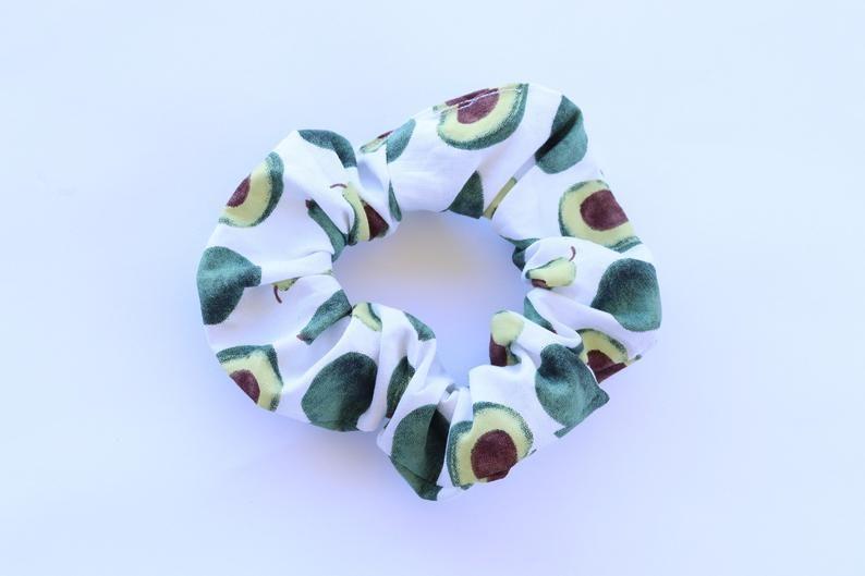 Avocado Scrunchie green scrunchies green avocado print scrunchie avocado scrunchies