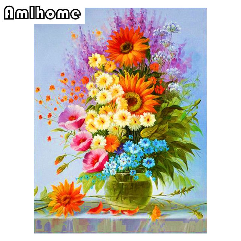 Vase Diamond Painting Home Decor Cross Stitch Full Square Picture Embroidery KRR