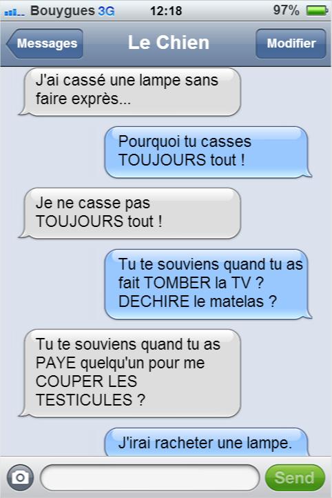 Les Sms De Mon Chien Texto Droles Sms Droles Sms