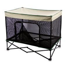 Quik Shade Medium Instant Pet Kennel with Mesh Walls and Elevated Mesh Bed in Tan - Bed Bath & Beyond