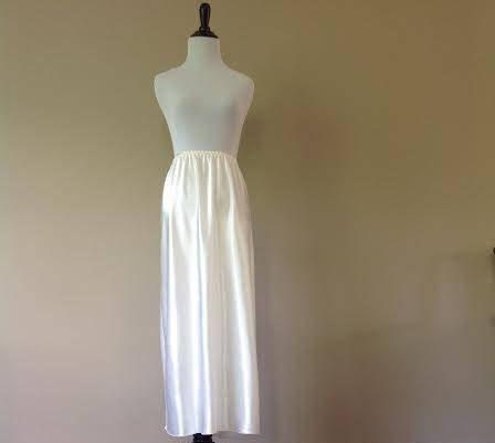 3x 35 Half Slip Skirt Long Maxi Length White Satin With