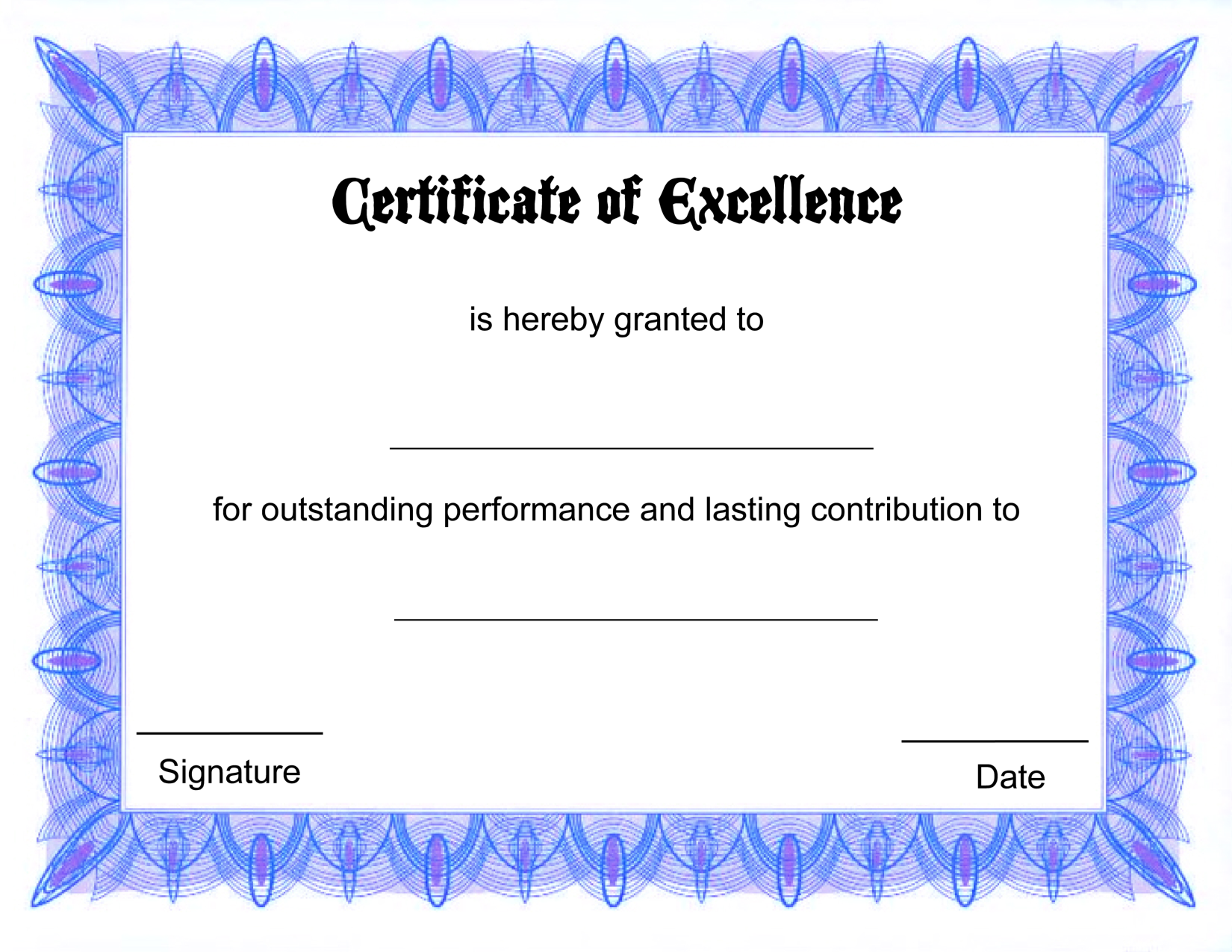 Blank Certificate Templates Of Excellence  Certificates Templates