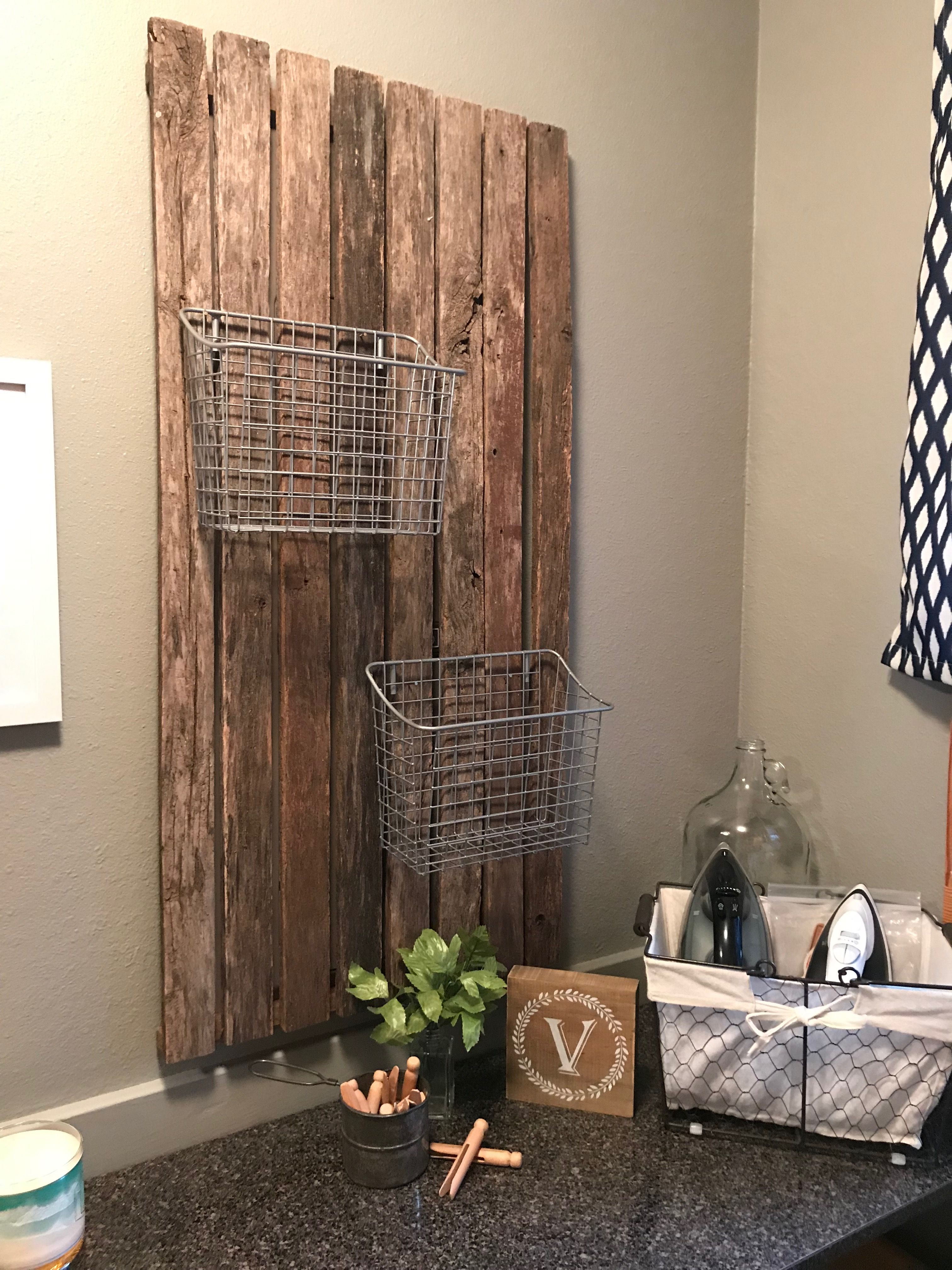 Repurposed wood to cover fuse box in laundry room...❤️   Repurposed wood,  Laundry mud room, Fuse box coverPinterest