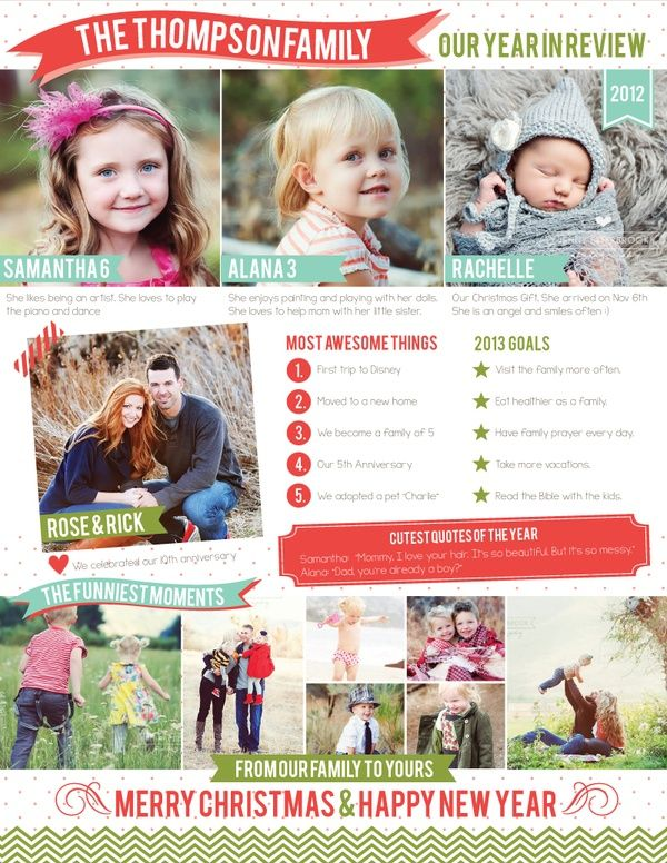 Free Family Newsletter Template  A Year In Review  Graphic