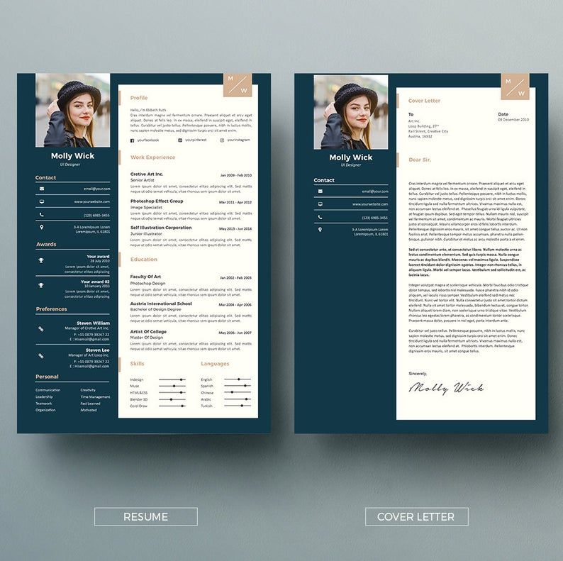 Professional Resume Template Instant Download 2 Pages CV