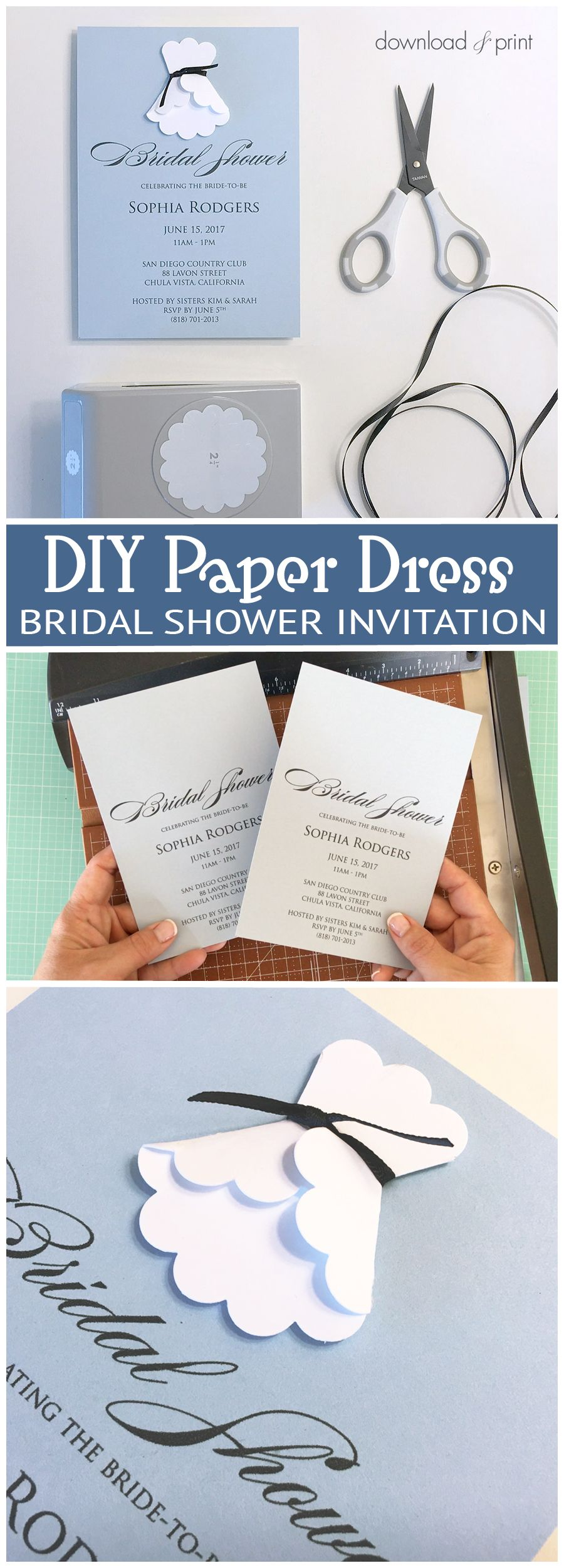 sweet and simple bridal shower invitation with a diy paper. Black Bedroom Furniture Sets. Home Design Ideas