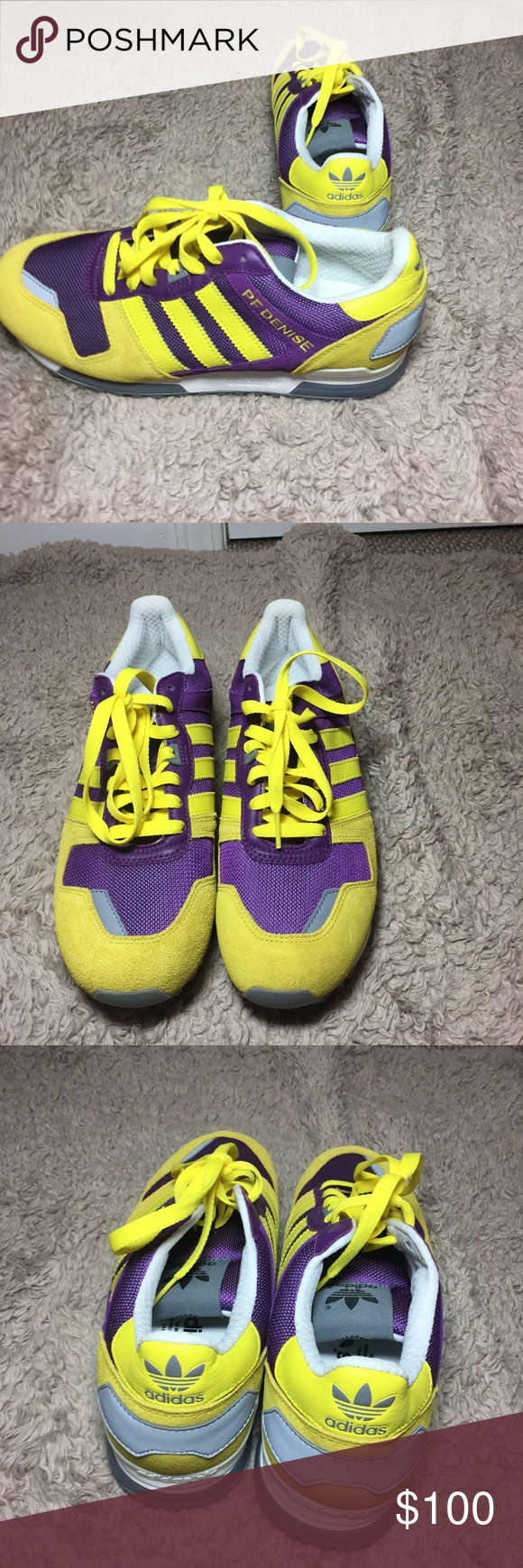 08e40753d56d Brand new without tags adidas sneakers size 9 purple and yellow! These  colors are across each other on the color wheel making them pop! adidas  Shoes ...