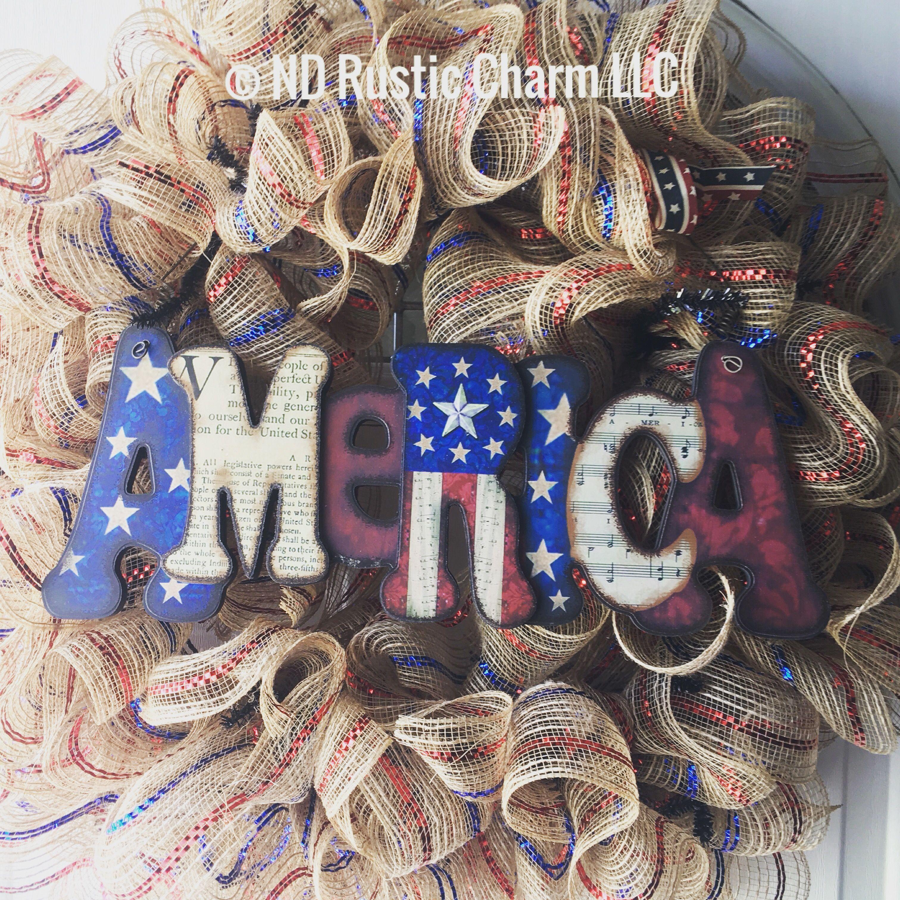 American Wreath Handmade By Nd Rustic Charm #Wreath #Usa #America