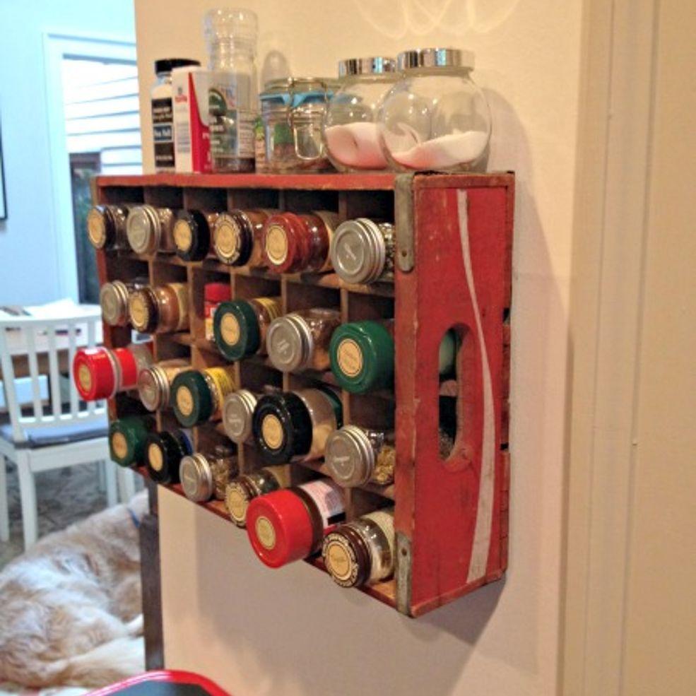 Vintage Coke Crate Spice Rack Old Coke Crates Coke Crate Ideas Repurposed Items