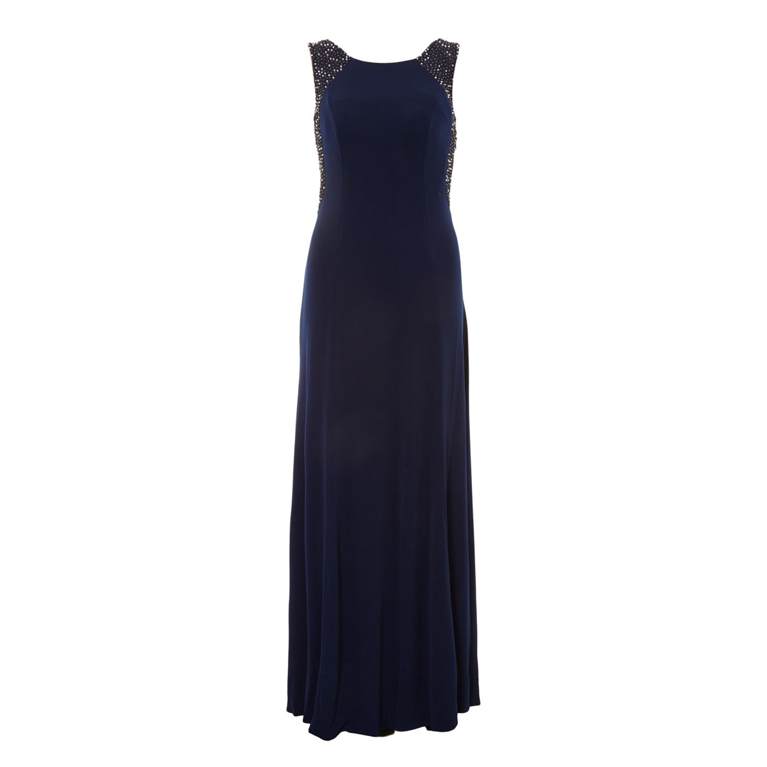 Cachet Navy Blue Embellished Draped Evening Dress