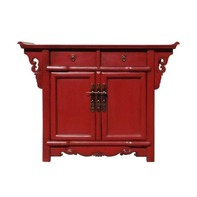 Image Of Chinese Oriental Red Altar Side Table Cabinet Side
