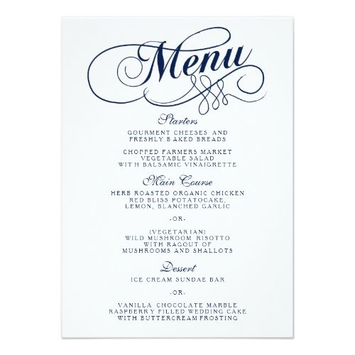 Elegant Navy Blue And White Wedding Menu Templates Wedding menu - dinner party menu template