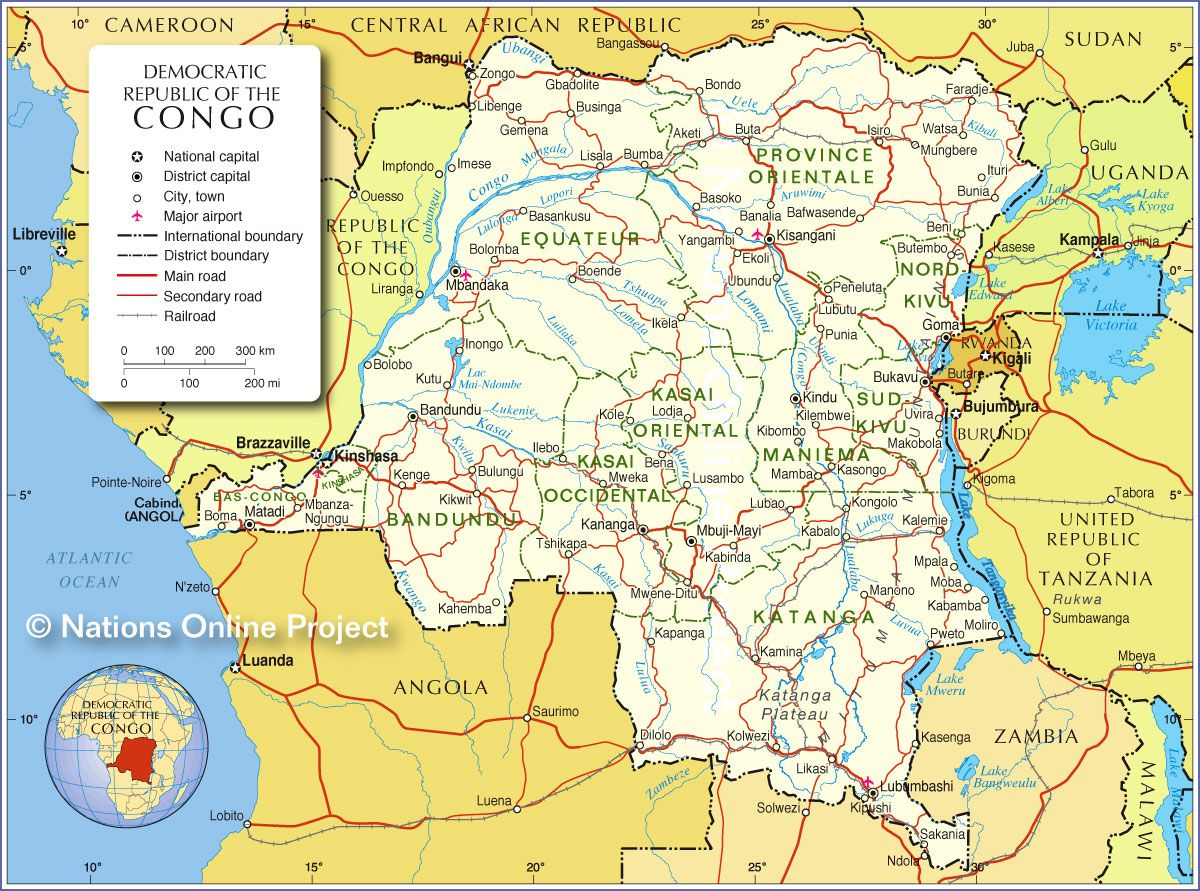 Democratic Republic of Congo Map shows Provinces and main roads