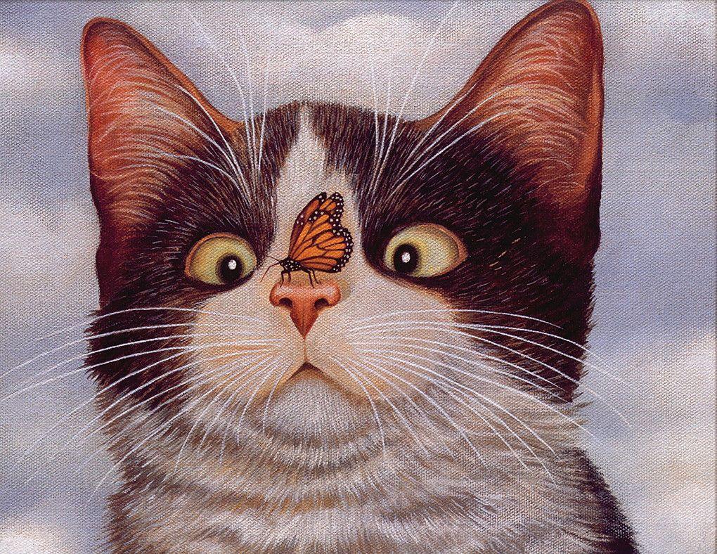 Картинки смешных рисованных кошек