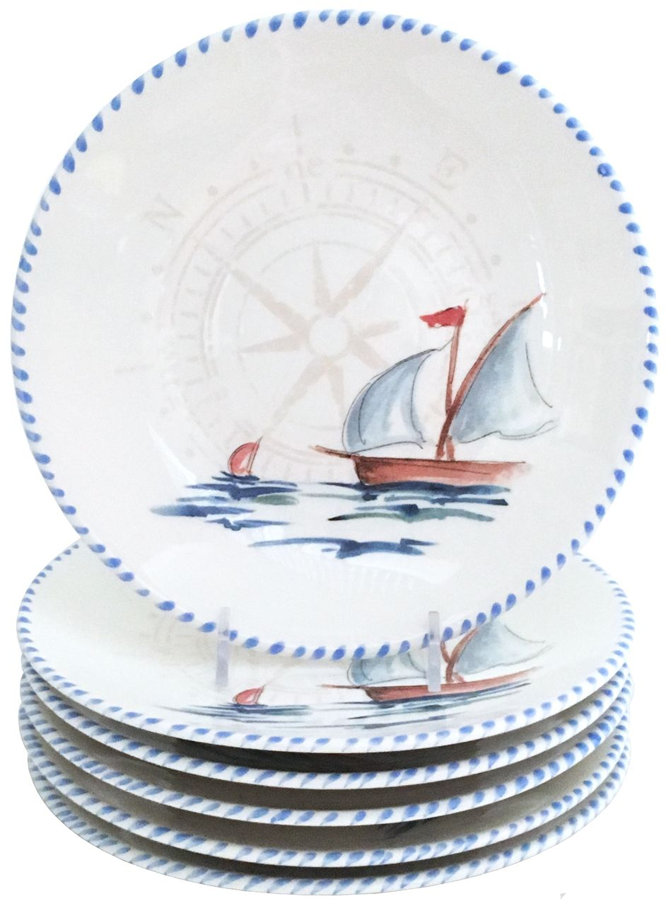 Uniquely Hand Crafted Nautical Dinnerware For Your Beach Or Lake Home Dining Experience The Sailboat Dinner Plates Will Showcase Gourmet Talents