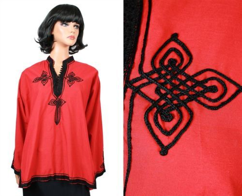 Vintage-Asian-Shirt-L-XL-Red-Black-Embroidered-Soutache-High-Mandarin-Collar