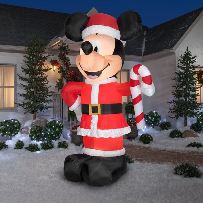 Disney Santa Mickey with Candy Cane Inflatable Christmas Outdoor
