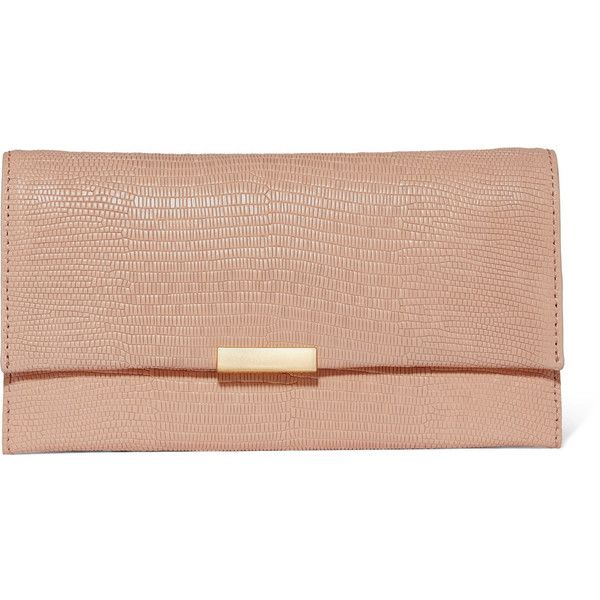 Loeffler Randall Tab lizard-effect leather clutch (€300) ❤ liked on Polyvore featuring bags, handbags, clutches, neutral, leather purses, leather clutches, red clutches, crossbody handbags and leather cross body purse
