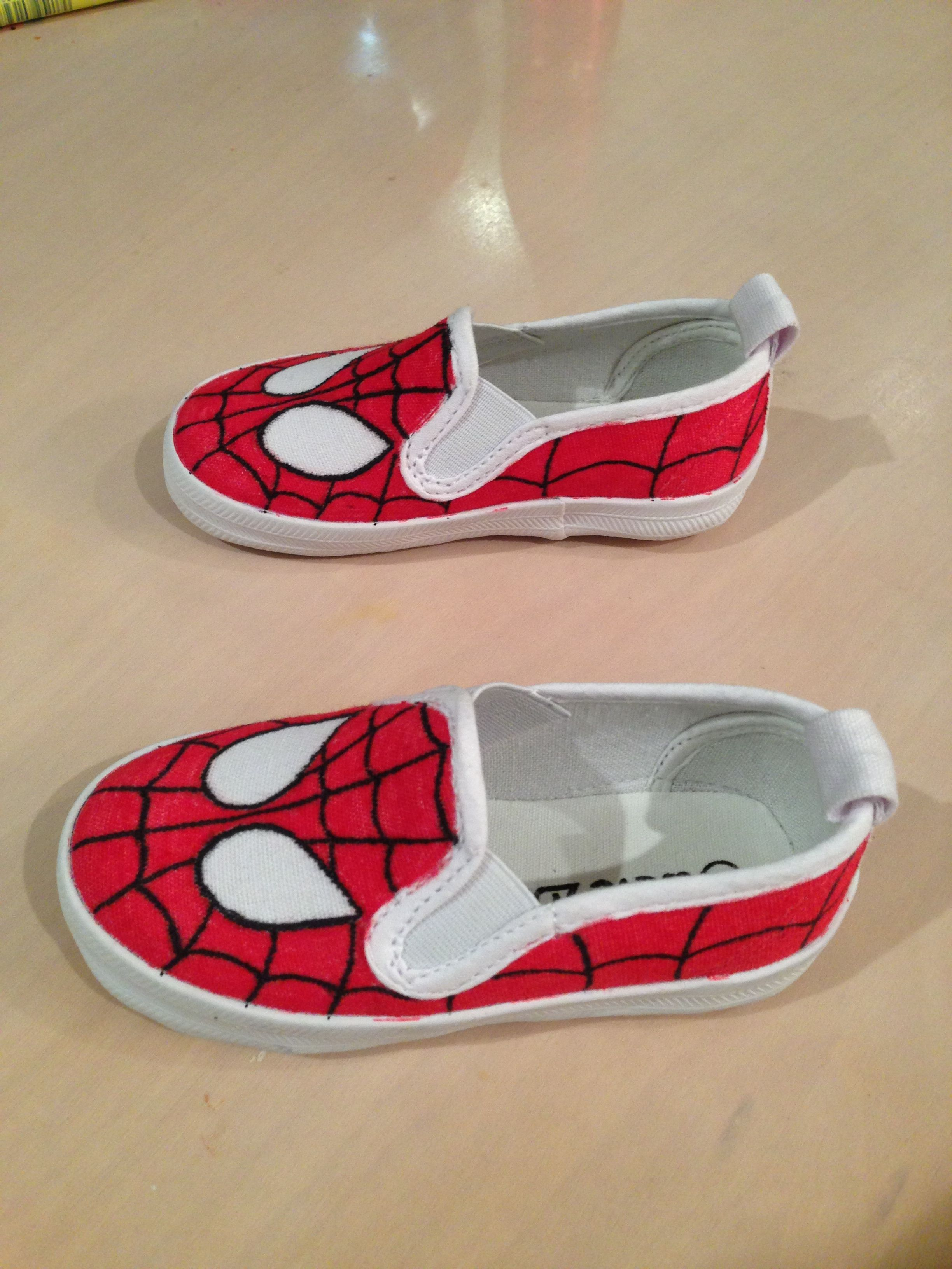 48707f70f4edc DIY Spiderman shoes - Visit to grab an amazing super hero shirt now ...
