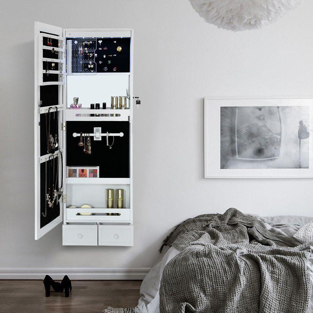 songmics armoire bijoux psych murale suspendue blanc. Black Bedroom Furniture Sets. Home Design Ideas