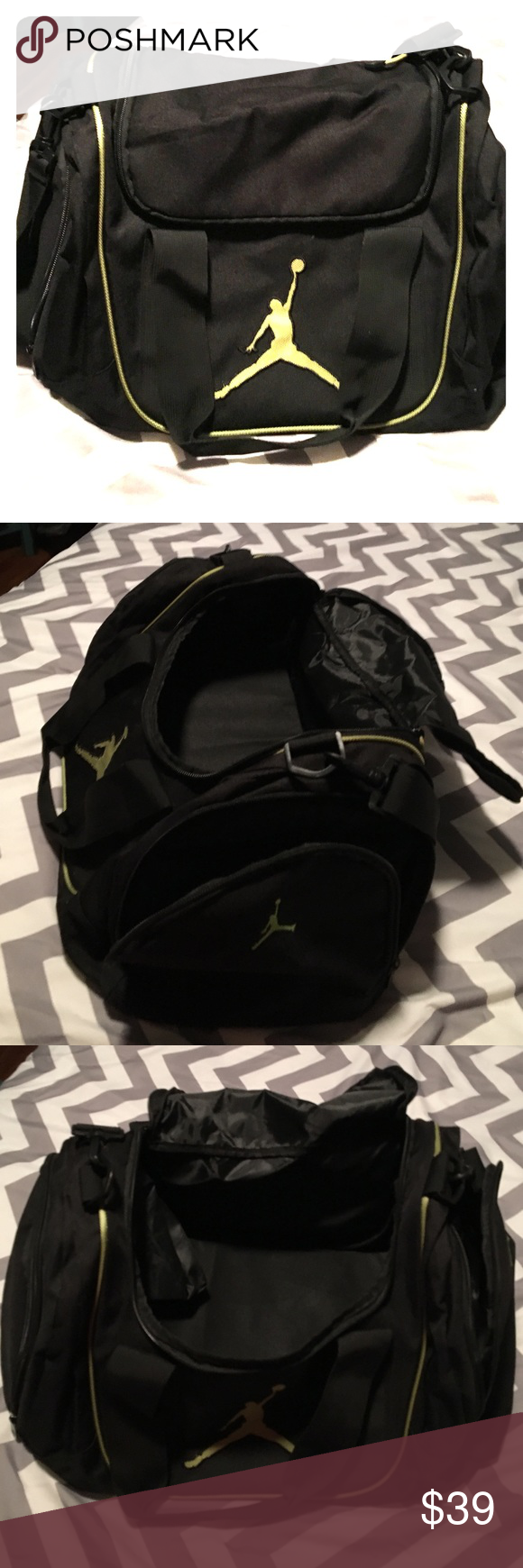 "Huge! Jordan Duffel Bag! New!  New! Michael Jordan, black w/ lime green logos & accent. 20"" wide 10""across, 12"" high! Holds ball shoes, basketballs, uniform etc. padded shoulder strap & handles. Super cool bag!!! Nike Bags Travel Bags"