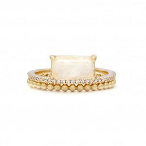 Double Band Moonstone Ring