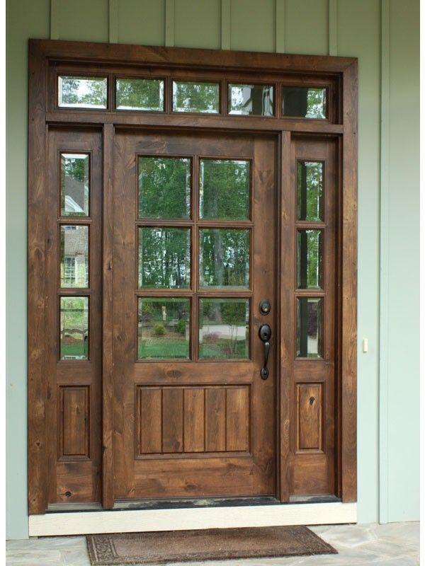 Knotty Alder Oconee Tdl 6 Lite Single Door 2sidelite Rec Transom House Exterior Knotty Alder Doors Wooden Front Doors